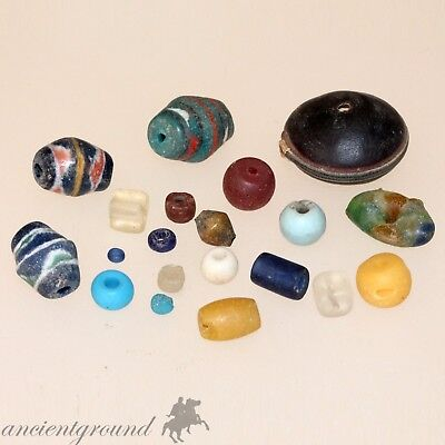 Top Lot Of 20 Ancient Egyptian , Roman & Medieval Glass Beads