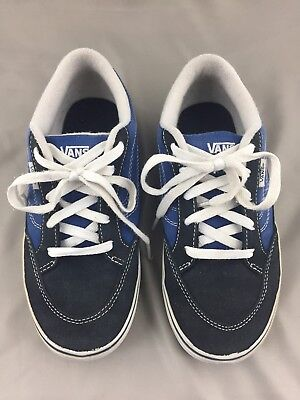 Boys Vans Tennis Shoes Youth Size 4 Blue Navy White Suede & Canvas Lace Sneakers