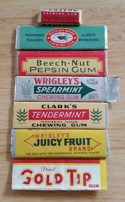 6 Vintage Sticks of Chewing Gum, Beech-Nut, Wrigley's, Clark, Dentyne.