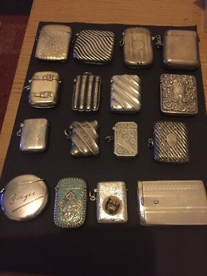 Collection Of 16 Solid Silver Vesta Cases