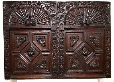 HAND CARVED WOOD CABINET PANEL DOOR MATCHED PAIR ANTIQUE FRENCH GOTHIC LION 19th