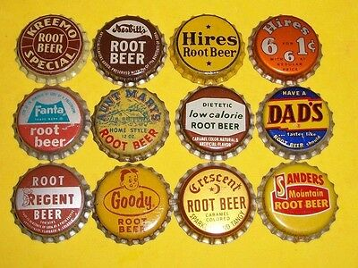(12) Diff Unused NOS Hires/Crescent/Aunt Mary Root Beer Cork Soda Bottle Caps