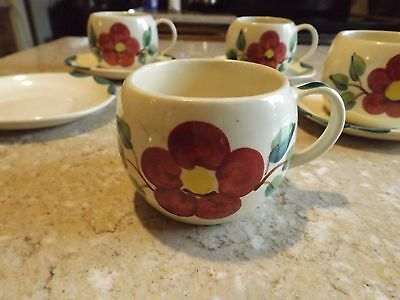 Vintage Purinton Slip Ware Pottery China Mountain Rose Floral Cup & Saucer