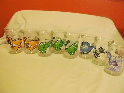 8 Vintage Welch's Jelly Jar Glasses With Dinosaurs & Tom & Jerry~1990's