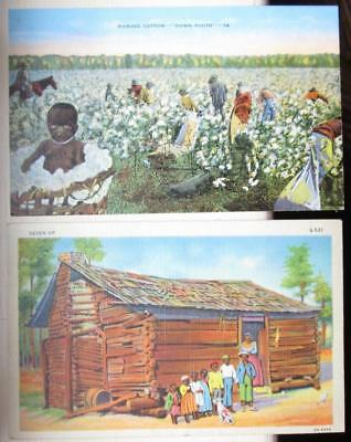 Two African-American Southern Scene Color Litho Satin Post Cards