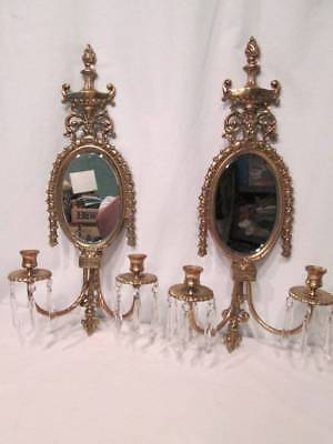 Antique 20s Candle Brass Wall Sconces Crystal Prisms Beveled Mirror Glo-Mar NY