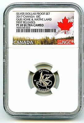 2017 Canada 150Th Anniv Proof 10 Cent Wings Of Peace Ngc Pf69 First Release Dime