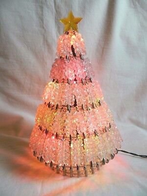 Vintage Multi Color Lighted Bead & Safety Pin Christmas Tree