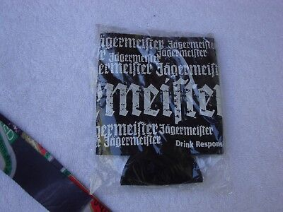3 Jagermeister Neoprene Beer Can Coozee Black with White Print