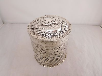 1886 Super Victorian London England Sterling Silver Repousse Bird Tea Caddy Box