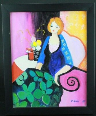 Celini Contemporary Expressionism Seated Redhead on Sofa Oil on Canvas Painting