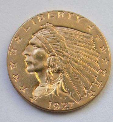 1927 $2.50 Dollar United States Indian Head Quarter Eagle Gold Coin $2 1/2