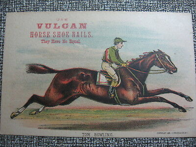 Victorian Trade Card Valcan Horse Shoe Nails Tom Bowling 1881 Currier & Ives