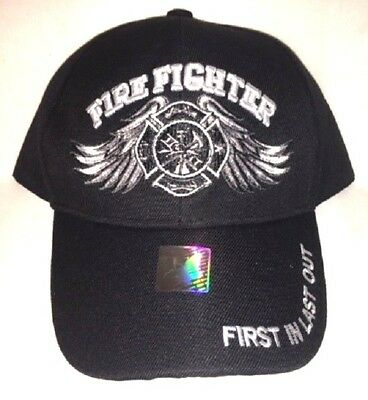 New Black Cap with Embroidered Winged Maltese Cross Firefighter Design