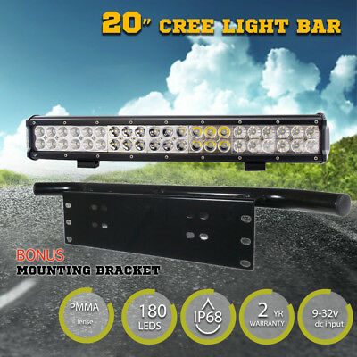 20Inch 210W CREE LED Light Bar Spot Flood Work Driving Number Plate Frame