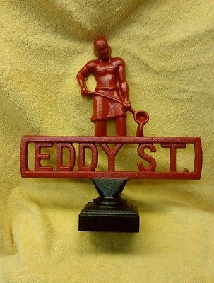 19th CENTURY STREET / ROAD SIGN, BEFORE GAS & OIL,CAST IRON FOUNDRY MADE,EDDY ST
