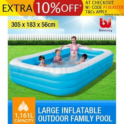 Bestway Deluxe Blue Large Inflatable Outdoor Family Play Swimming Pool Rectangle