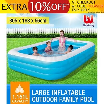 Bestway Deluxe Large Inflatable Outdoor Family Kids Swimming Pool Rectangle Blue