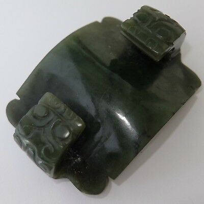 Antique Chinese Archaic Carved Green Jade Belt Buckle