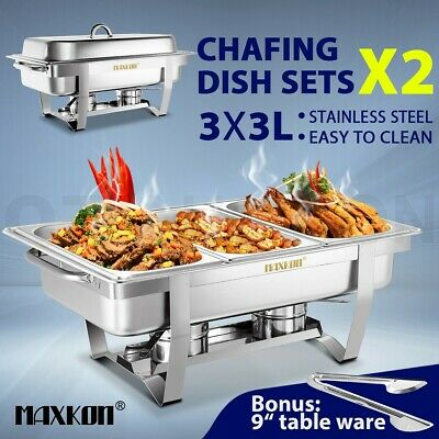Bain Marie Bow Chafing Dish 3Lx3 Stainless Steel Buffet Warmer Food Pan 2 Set