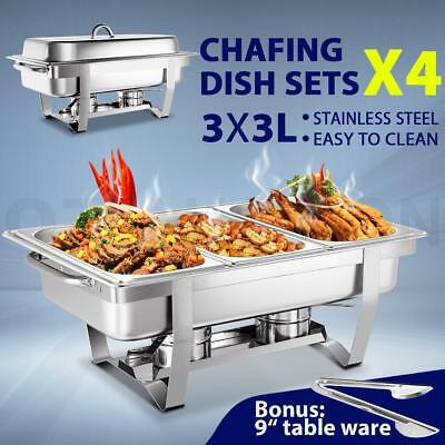 Bain Marie Bow Chafing Dish 3Lx3 Stainless Steel Buffet Warmer Set of 4