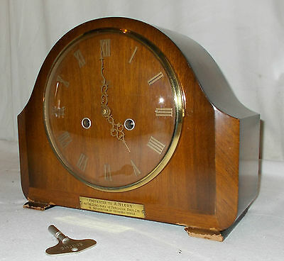 Smiths ENFIELD Vintage OAK Mantel CLOCK W/ CHIME & KEY With GILT Numbers