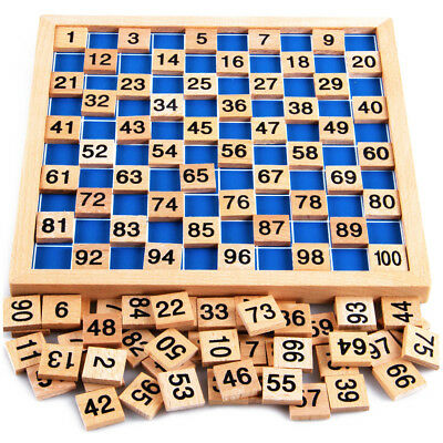 MONTESSORI Math Mathmatical 4-in-1 Wooden Board 1-100 Number Count Kid Toy NEW