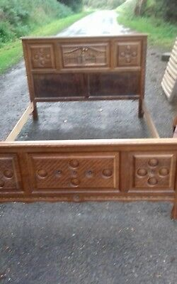 Vintage French/breton Mid 20Thc Carved Detail Double Bed Frame