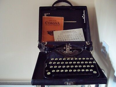Vintage 1920s Corona 4 Typewriter With Hard Carry Case, Oiler & Original Manual!