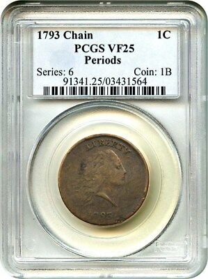 1793 Chain 1c PCGS VF25 (Periods) Choice VF Chain Cent - Large Cent