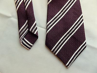 Vtg 1970s Purple Diagonal Stripe Polyester Tie By St Michael Made In UK EA53