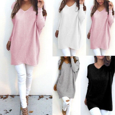 New Women Lady Fashion V Neck Long Sleeve Knitted Jumper Sweater Casual Tops Lot