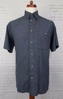 Vintage Blue / Grey Check S/Sleeve Cotton Friends Shirt -M- Loose Fit BT42