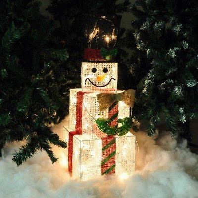 75cm Tall Indoor Square Light Up Christmas Xmas Snowman Light Decoration Boxes
