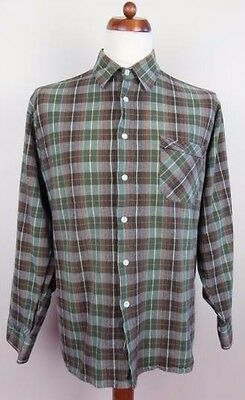 Vintage Long Sleeve Forest Trek Check Pattern Cotton Shirt Hipster -XL- BP62