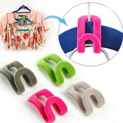 10 pcs Cloth Hanger Hook MINI FLOCCAGGIO facile Closet Organizer Holder