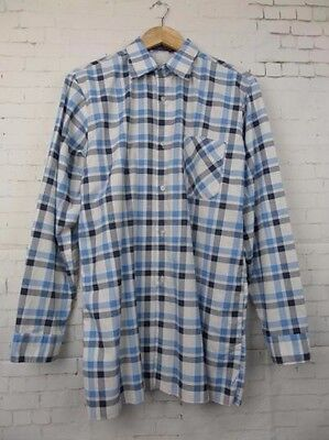 Vtg Retro L-Sleeve Slim Fit Blue Check Cotton Blend Shirt -L- BZ18