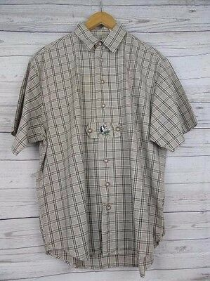 Vtg S-Sleeve Brown Country Check Cotton Shirt Duck Motif -L- CH77