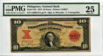 Philippines: 1916 10 Pesos PMG 25 VF (P-47b) - Historical US Issue