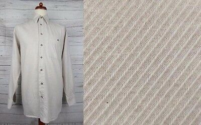 Vintage L-Sleeve Cream Indie Urban Cotton Shirt Hipster -M- CX57
