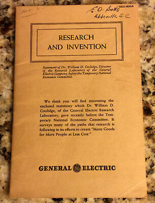 Vintage 1940 GE General Electric Booklet - Research and Invention