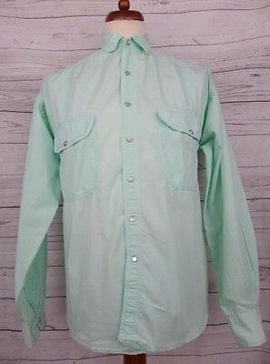 Vtg Peal Snap Mint Green L-Sleeve Cotton Casual Shirt 90s -L- CS37