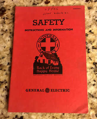 Vintage 1936 GE General Electric Booklet - Safety Instructions and Information