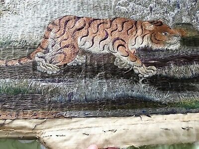 Meiji Threads of Silk and Gold Embroidery of Tiger Very Rare