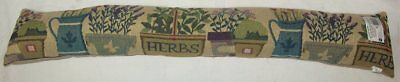 Cotton Cushioned Padded Home Door Draught Excluder 90cm x 12cm - Herbs