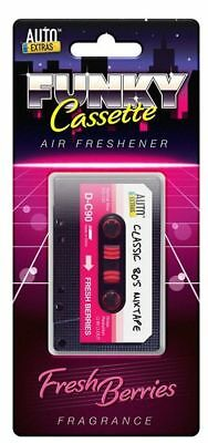 Retro Tape Cassette Novelty Car Air Freshener - Red - Fresh Berries Fragrance