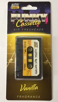 Retro Tape Cassette Novelty Car Air Freshener - Yellow - Vanilla Fragrance