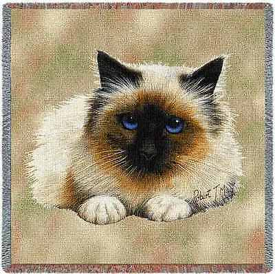 Lap Square Blanket - Birman Cat by Robert May 1950