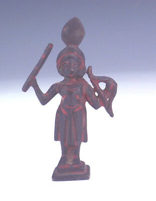 Antique Asian Indian Bronze - Miniature Painted Bronze Warrior Figure - Unusual!