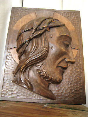Antique religious Christ icon large wall plaque wooden Christian signed Eckert